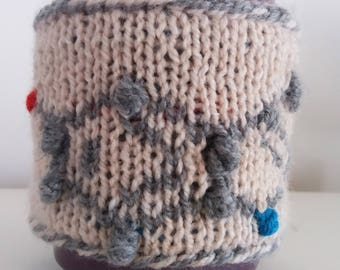 Serotonin Mug Warmer, Knitted Cup Cozy, Coffee Cup Sleeve, Eco-friendly, Molecular Structure, Science Gift, Chemistry Gift, Ball-And-Stick