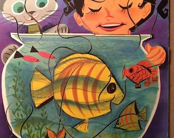 "Vintage 1960s PLAYskool 6-piece preschool wooden puzzle. ""In the Fishbowl."""