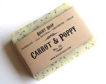 SCRUB SOAP Exfoliating Soap Bar Vegan Soaps Natural Unscented Soap Sensitive skin soap Carrot and Poppy Soaps All Natural Soap