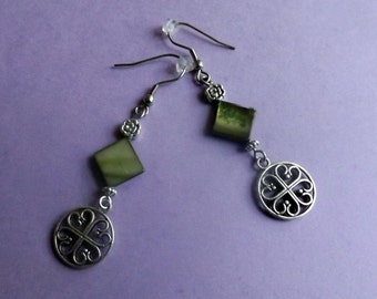 Celtic Earrings Green Mother of Pearl