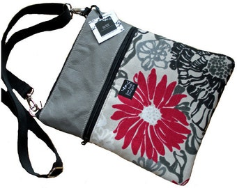 Gray Leather Red Black Flowers Fabric iPad Kindle Nook Passport Travel Messenger Bag Sling Purse Cross Body Sleeve-Elegant Floral