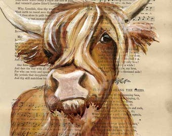 Highland Cattle - Original Watercolor Painting on Book page 7.3 x 9.5 inches