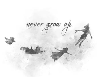 Peter Pan inspired Quote, Never Grow Up ART PRINT illustration, Black and White, Disney, Wall Art, Home Decor, Nursery, Gift