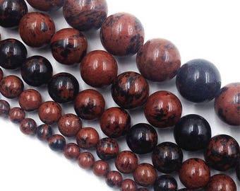 (Mahogany) 6 x 15 mm mahogany Obsidian round bead