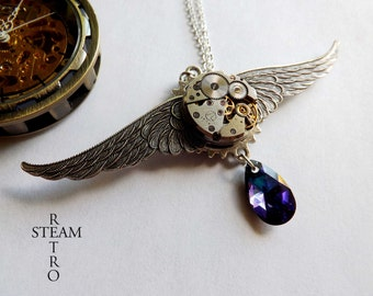 Mechanical wings steampunk necklace - steampunk necklace - womens steampunk gift - steampunk jewellery - steampunk jewelry