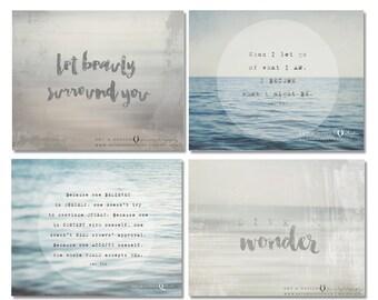 Inspirational Art Collection, Zen Prints, Print Collection, Beach Art Set, Set of 4, Gallery Wall Display, Print Set, Home Decor, Wall Art,