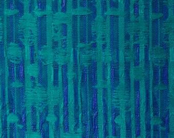 vintage curtain fabric, blue green, 80s home decor