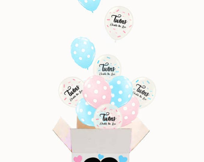 Twins Gender Reveal Balloons in a Box for a Gender Reveal Party, Twins Announcement, Twins Gender Reveal Balloon Release, Twins Reveal