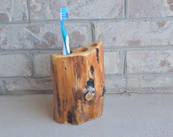 Juniper Log Toothbrush Holder