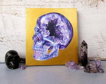 Amethyst Crystal Skull Surreal Original Acrylic Painting Geode Pop Art