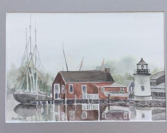 Foggy Harbor Original Watercolor