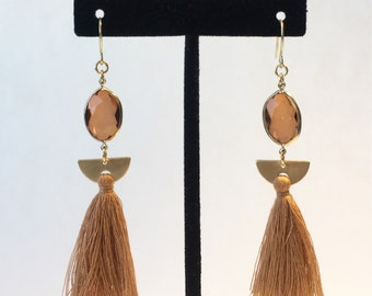 One of a kind earrings- brown/ gold