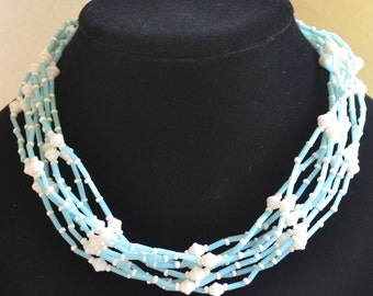 Vintage 8 Strand Blue White Glass Bead Western German Choker Necklace