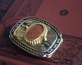 Vintage Goldstone NOS Belt Buckle, Italy Glitterstone Aventurine USA belt buckle, Western Belt buckle, gift for him under 20