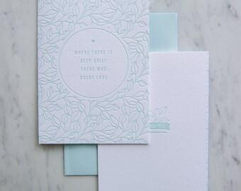 Deep Grief Letterpress Sympathy card, mourning,
