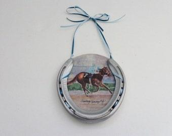 Equine Horseshoe, Decorative HorseShoe, RacehorseArt, Equestrian Art, Horse Painting