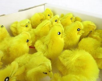 Vintage Mid Century Chenille Chicks, New in Box, Easter Novelties