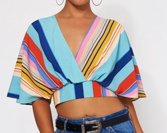 Lola Blue Stripe Crop Top
