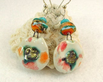 Artsy Petals Petra Ceramic Silverfish Lampwork Glass Turquoise Sterling Silver Earrings (ER 527)