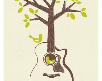 Birds & Acoustic Guitar Print