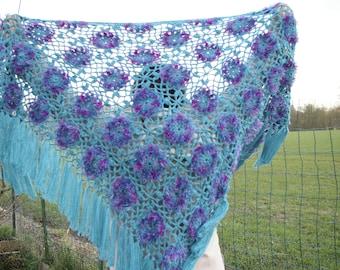 Hand crocheted turquoise shawl