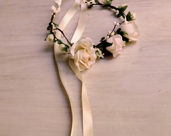 blush flower crown Bridal headpiece ivory Wedding party Hair wreath Accessories rose headband halo artificial florals