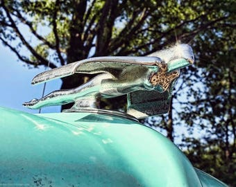 Flying Woman Hood Ornament Photo - Classic Car Photography by Liberty Images - Rusty Chrome - Turquoise Old Car - Vintage Gritty Car Art