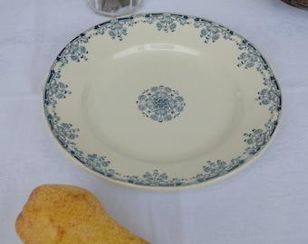 Small Round French Ironstone Platter. Sarreguemines. Blue and White Transferware. Mignon.