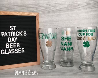 St Patricks Day 19oz Pilsner Glasses | Beernanigans | Shenanigans | Finish This Cup For Good Luck | St Patricks Day Party Supplies