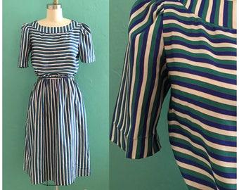 vintage 80's blue striped dress // lanz secretary dress with pockets