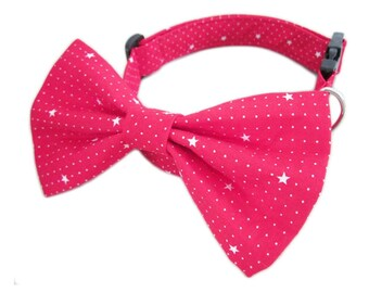 Bow Tie Dog Collar - Adjustable Soft Fabric Dog Puppy Collar with Buckle and D-ring for Lead - White Star in Red Fabric