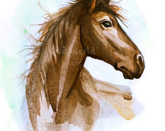 Chestnut Horse Digital Download Art printable, brown and mint blue home decor for horse lovers, animal art, watercolor painting