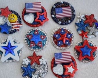 3 Dimensional 4th of July Pins and Refrigerator Magnets