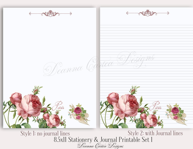 8.5 x 11 Briefpapier und Journal note druckbare Set 1 floral