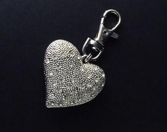 Chico's Brand Silver Tone and CZ Heart Purse Jewelry Charm Keychain
