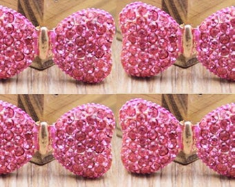4 Flat Back Rhinestone Button Bow Hot Pink (34x18 mm) QS-030