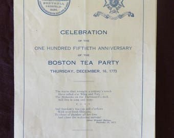 1923 Boston Tea Party 150 Year Celebration, Original Program, American Revolution Paper Ephemera, Antique, Anniversary