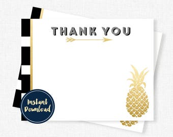 Pineapple Thank You Cards, Blank Pineapple Thank You, Birthday Thank You, Black and Gold Printable INSTANT DOWNLOAD