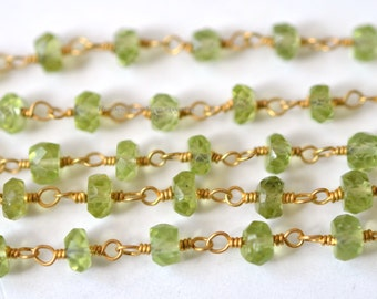 Lovely 18kt Gold Vermeil Natural Green Peridot Rondelle 3mm Chain - 1 Foot