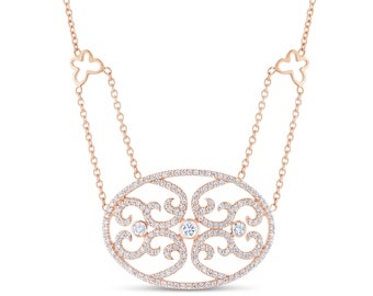 Women's Diamond Oval 1.22 ct Pendant Necklace Chain 18k Solid Rose Gold