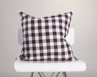 Brown Gingham Pillow Cover , Gingham Check  Pillow Cover, Plaid  Pillow, Two Sided Pillow, Decorated Pillow Cover, Throw Pillow Cover