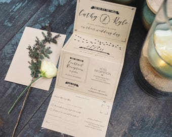 Wedding Accordion Invitation (Kraft) - (Deposit Listing to Begin Design Process!)