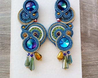 Blue and green round dangle earrings, Handmade earrings with crystal beads and rhinestones, Soutache earrings full lenght 3.7 inches, Gift