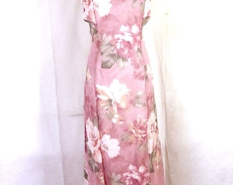 vtg Ursula of Switzerland euc Mauve Floral Formal Sleeveless Dress MOTB sz 12