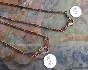 Antiqued Copper Chain, Antiqued copper Curved chain,Choose the Length, Necklace Chain for the Pendant,