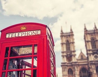 London Photography, London Print, Red Telephone Booth, Westminster Abbey, London Art, Red, Travel Photography