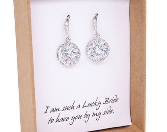 Pamela - Sparkling Bridal Earrings, Bridesmaids, Clear White Large Cubic Zirconia Crystal, Big Diamond Earrings