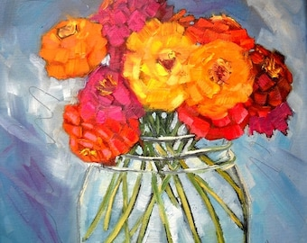 "Flower Painting, Floral Still Life, ""Jar Full of Sunshine"" by Carol Schiff, 10x10 Oil Painting, Free Shipping in US"