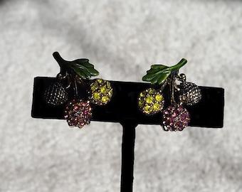 Vintage Hollycraft Floral Rhinestone Clip Earrings