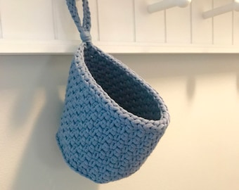 Hanging Basket, Doorknob Crochet Basket in Denim Blue